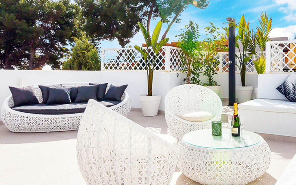 Stylish roof terrace and outdoor shower