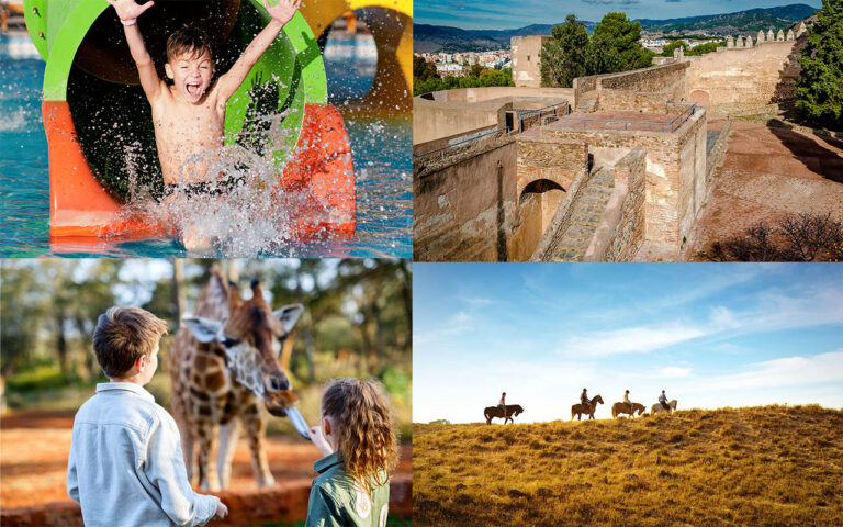 Collage of activities for children on the Costa del Sol