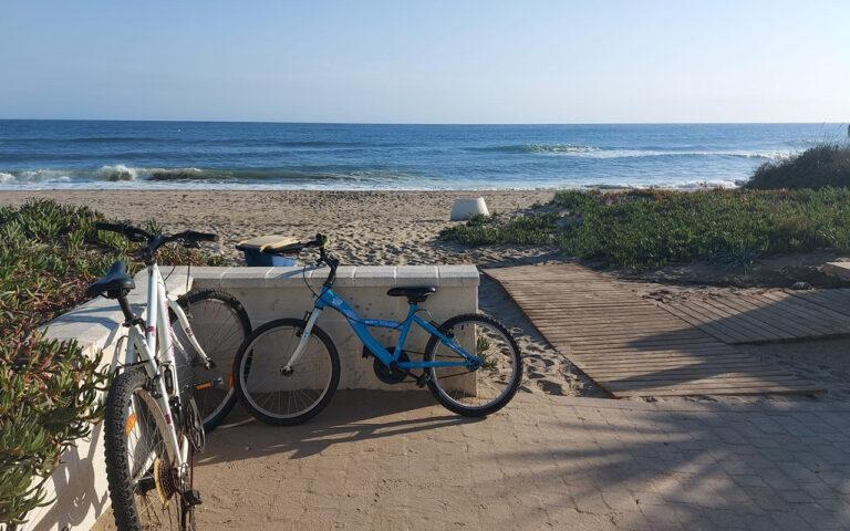 Riding bikes to beach in Marbella