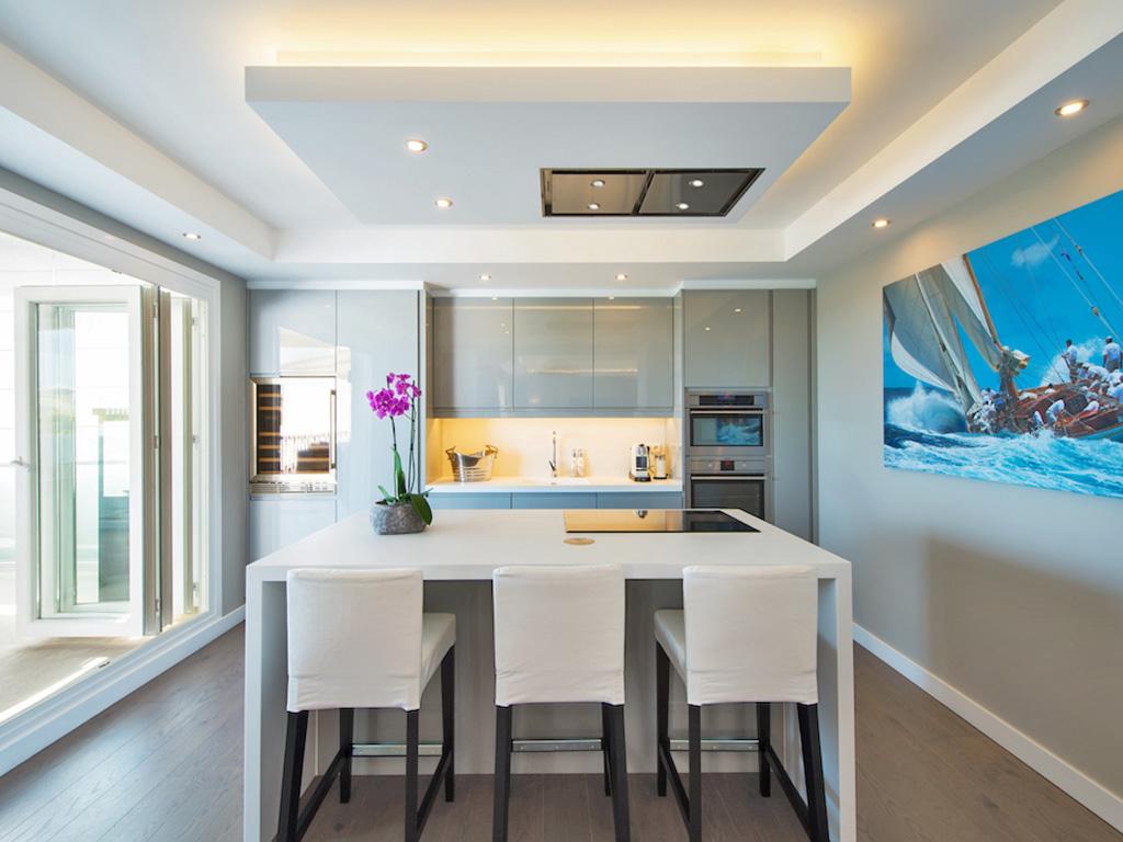Kitchen with layered lighting