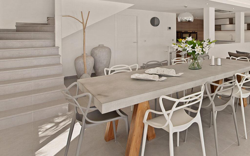 Stylish modern grey ceramic steps custom edges