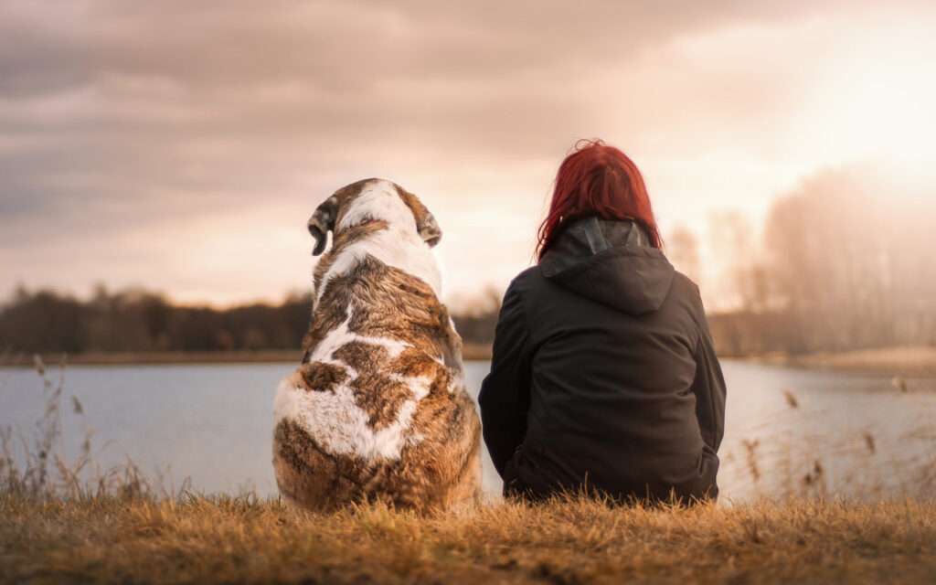 Lady sitting next to her dog in nature